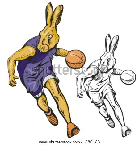 Bunny Basketball Mascot for sport teams. Great for t-shirt designs, school mascot logo and any other design work. Ready for vinyl cutting.