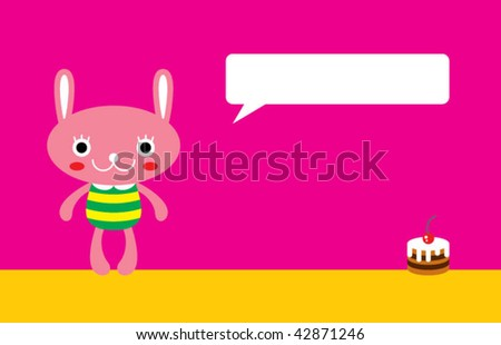 bunny birthday invitation card - stock vector