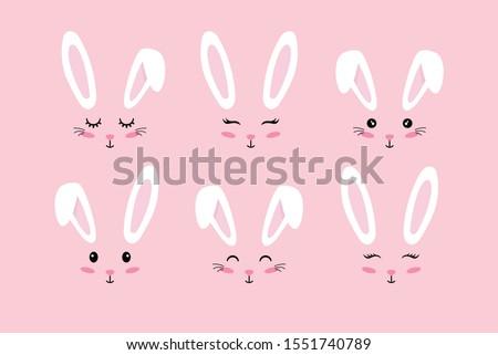 Bunny ears. Easter Bunny face mask. Vector