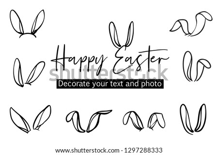 Bunny ears easter decoration isolated elements. Text emphasis doodle decorative sketch. Graphic in line art style. Hand drawn illustration set. Black brush  funny icon on white background.