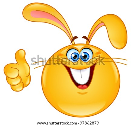 Bunny emoticon with thumb up