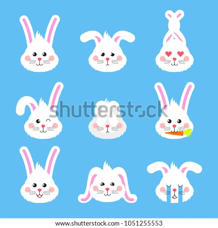 Bunny emotions character. Cute easter rabbit heads emoticons vector. Easter bunny holiday sticker
