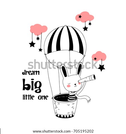 bunny in a stripped tee and scarf is sitting in a basket of a flying hot air balloon and looking at the stars through the spyglass. childish hand drawn vector for t-shirts, wall art, baby shower etc