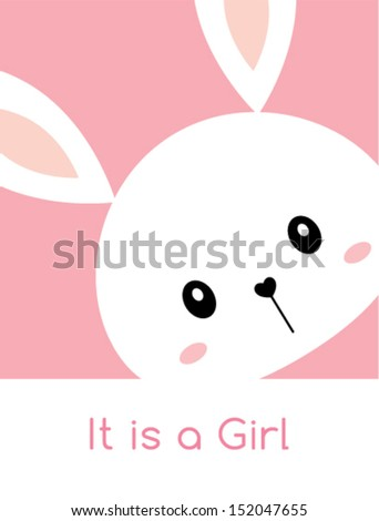 bunny it is a girl arrival card