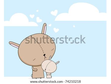 bunny mom and child