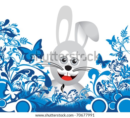 bunny on floral background