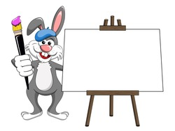 bunny or rabbit painter brush and palette blank canvas isolated on white