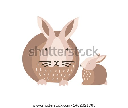 Bunny or rabbit with baby isolated on white background. Lovely family of cute funny wild forest animals or pets. Parent with youngling, mother and child. Flat cartoon colorful vector illustration. Stockfoto ©
