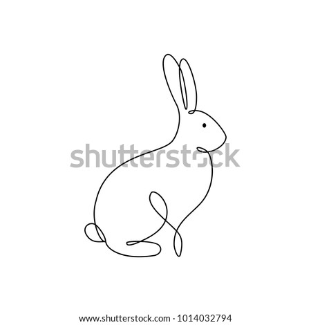 Bunny rabbit line art icon. Abstract outline rabbit. Hand drawn minimalism style
