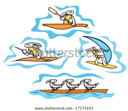Bunny sailing and surfing. Great for t-shirt designs, mascot logos and other designs. Vinyl-ready.