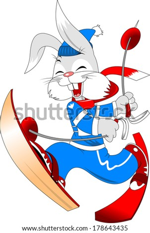 bunny skier in blue and red ski