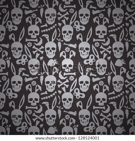 bunny skull seamless dark wallpaper