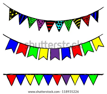 Bunting and garland. Doodle style