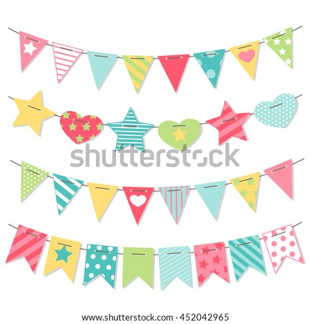 Bunting and garland set. Cute party flags. Holiday decorations. Vector illustration Foto stock ©