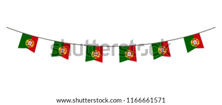 Bunting decoration in colors of Portugal flag. Garland, pennants on a rope for party, carnival, festival, celebration. For National Day of  Portugal on August18