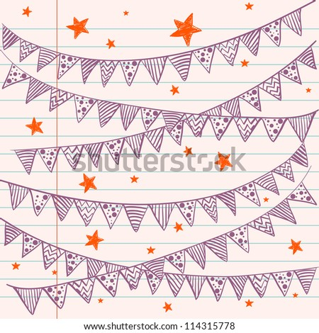 Bunting flags on a lined notebook paper. Hand drawn sketch. Notebook doodles. Vector Illustration. Background.