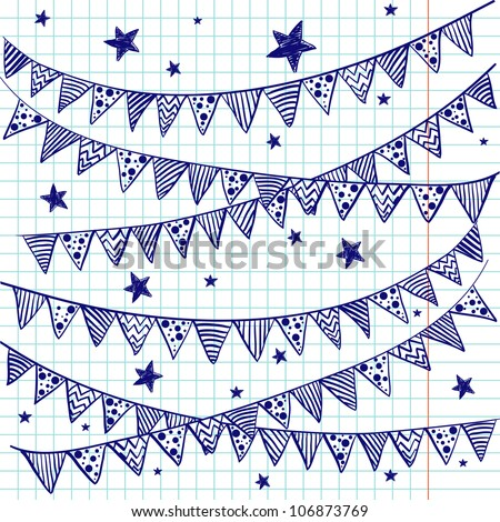 Bunting flags on a squared notebook paper. Hand drawn sketch. Notebook doodles. Vector Illustration. Background.