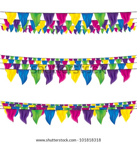 bunting flags set, top view, bottom view