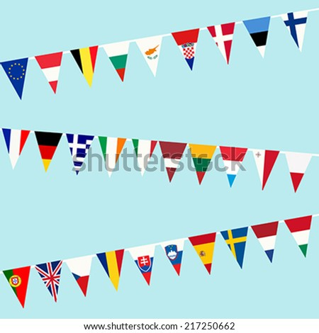 bunting of flags from european