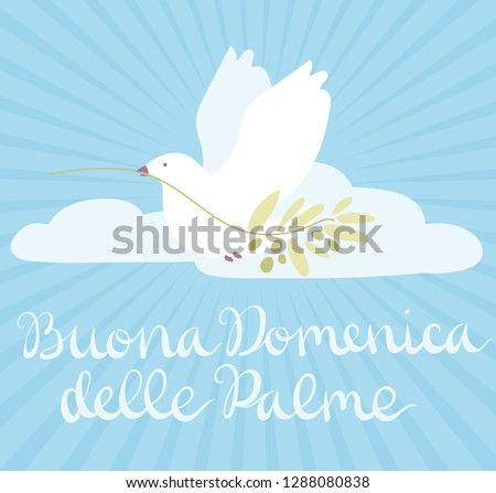 Buona Domenica delle Palme - Happy Palm Sunday - celebration card with handwritten lettering and white dove flying with olive branch. Hand drawn vector in mimal style.