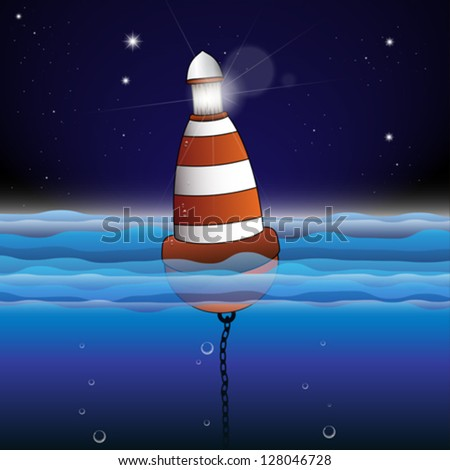 Buoy Illustration with Night scene