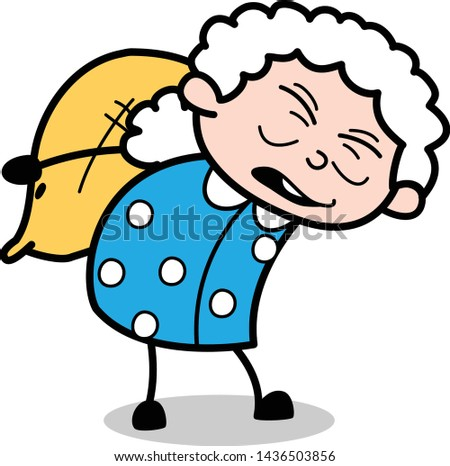 Burden - Old Woman Cartoon Granny Vector Illustration
