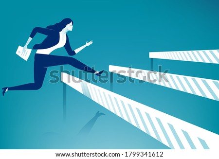 Bureaucracy. Woman jumps over ascending obstacles with stamped document. Vector illustration Stock photo ©