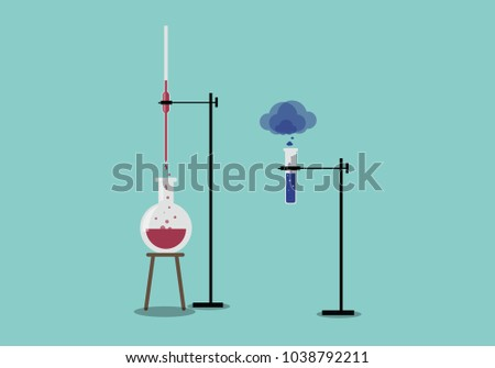 burette is attached to stand acid is pouring burette to flask and testtube is attached to stand acid is evoparating