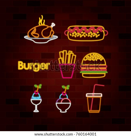 burger and fast food set of