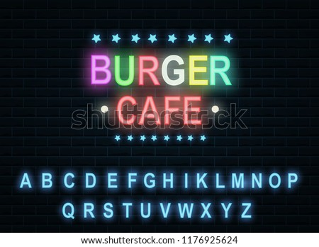 Burger cafe in neon color. Location of the site or site of the business card. vector illustration. burger in a restaurant cafe. banner advertising of a restaurant or pizzeria.