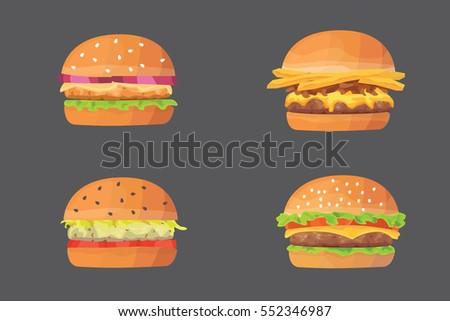 Burger cartoon fast food set. cheeseburger and hamburger vector illustration