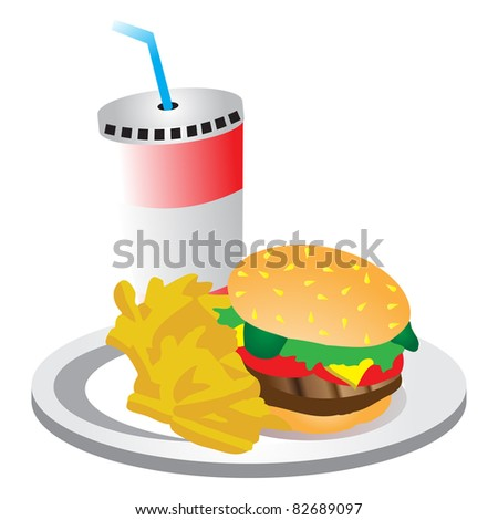 Burger, chips and a drink on a plate