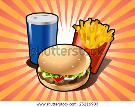 burger, french-fry and drink - stock vector