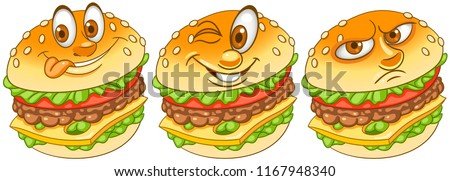 Burger. Hamburger. Cheeseburger. Fast Food concept. Emoji Emoticon collection. Cartoon characters for kids coloring book, colouring pages, t-shirt print, icon, logo, label, patch, sticker.