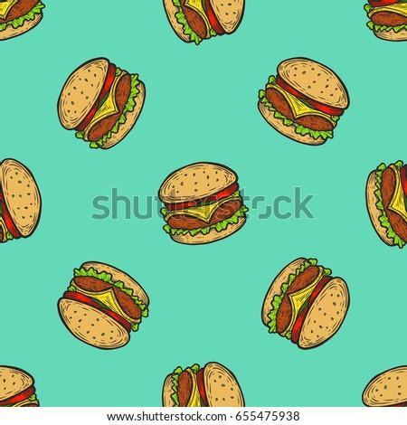 Burger, hamburger, cheeseburger Fast food vector seamless pattern. Junk food on Green