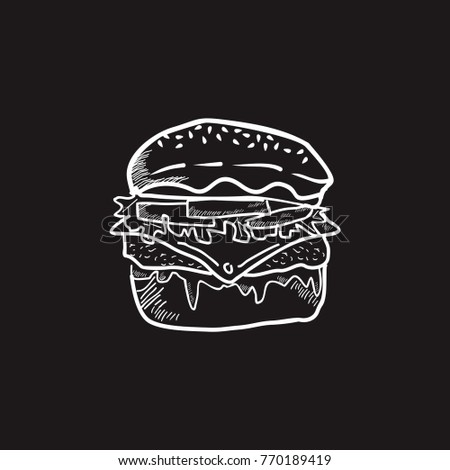 burger, hamburger, food, meat, junk, lunch design with nice shape, nice color, simple, and retro theme