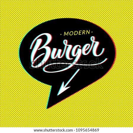 Burger logo in bubble cloud with arrow on dotted background for sign, banner, poster. Modern glitch effect and cloud talk. Burger word for fast food restaurant menu. Vector illustration. EPS 10