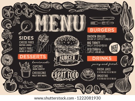 Burger menu template for restaurant on a blackboard background vector illustration brochure for food and drink cafe. Layout with vintage lettering and frame of hand-drawn graphic vegetables.