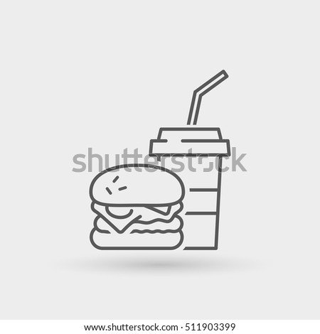 burger menu thin line icon. isolated. black color, for restaurants and fast food outlets