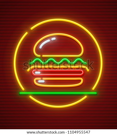 Burger neon icon. Hamburger fast food symbol with illumination. EPS10 vector illustration.