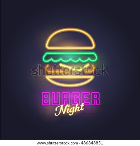 Burger neon sign, bright signboard, light banner. Burger logo, emblem