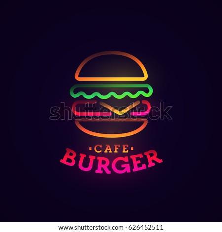 Burger neon sign, bright signboard, light banner. Burger logo, emblem