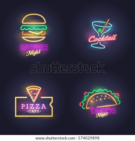 Burger neon sign. Cocktail, Nacos and Pizza neon sign, bright signboard, light banner. Logo, label, emblem.