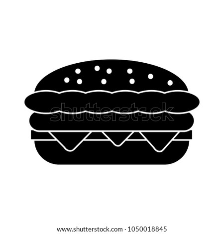 burger sandwich illustration, food icon, burger sandwich isolated - fast food