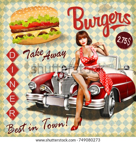 burger vintage poster with pin