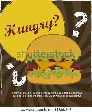 burger with meat over vintage background. vector illustration