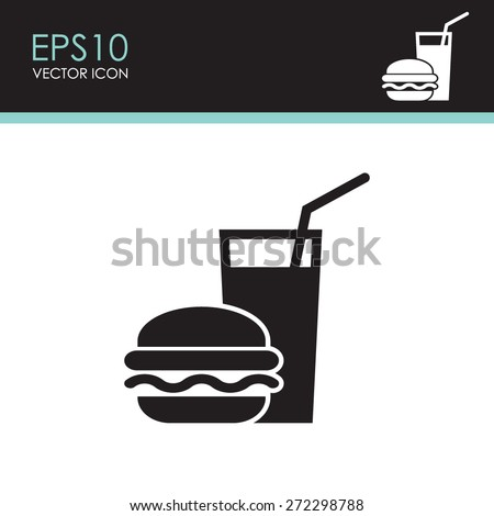 burger with soft drink vector...