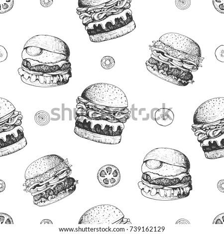 burgers seamless pattern hand