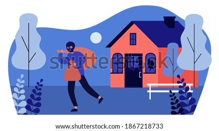 Burglar in balaclava carrying bags from house. Thief, gangster, broken window flat vector illustration. Crime or burglary concept for banner, website design or landing web page Foto stock ©