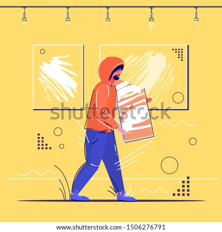 burglar stealing museum exhibits crime scene stealing theft concept robber holding picture modern art gallery interior sketch full length